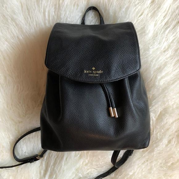 c700e1ba5 kate spade Bags | Black Leather Backpack | Poshmark